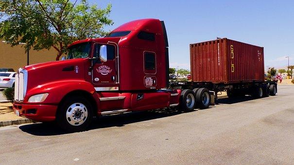 Truck, American, Transport, Vehicle, Traffic, Road