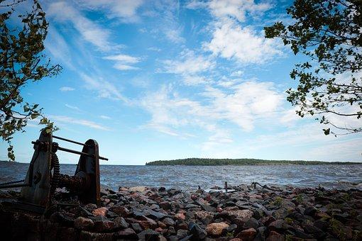 Lake, Stones, Water, Beach, Landscape, Sky, Clouds