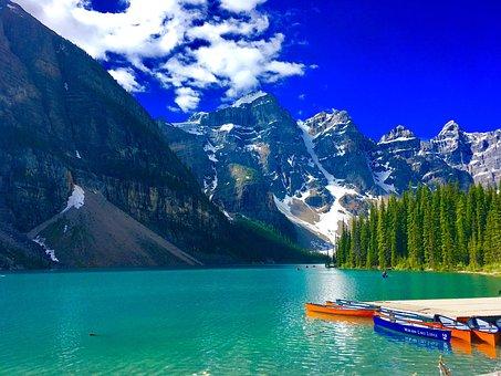 Moraine, Lake, Banff, Alberta, Scenic, Water, Mountain