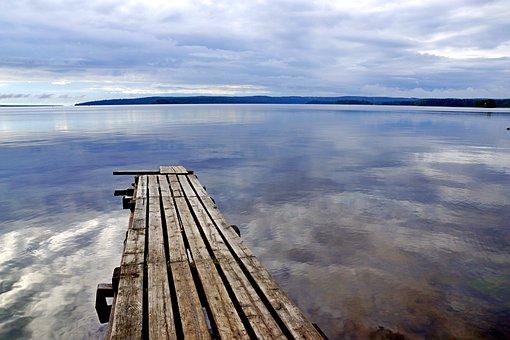 Pierce, Sky, Landscape, Pier, Wood, Bay, Water, Clouds