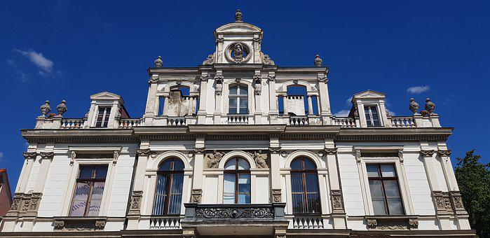Facade, Decorated With, White, Kamienica, Sky