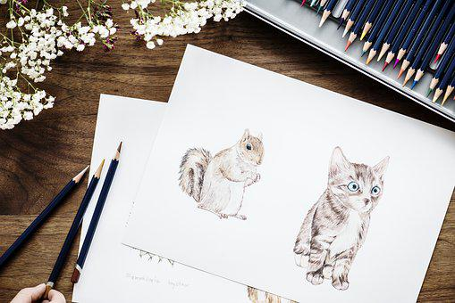 Adorable, Animal, Art, Bright, Cat, Colorful, Coloring