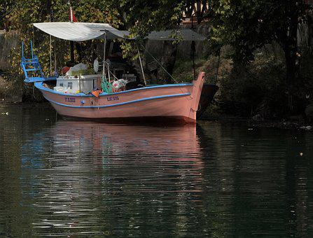 Boat, Reflection, Pink, Water, Landscape, Nature, Rest