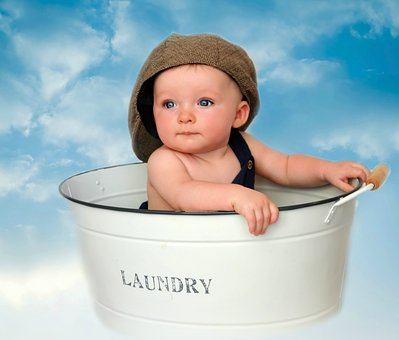 Infant, Baby, Boy, Cute, Laundry Tub, Tin, Clouds