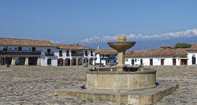 Colombia, Villa De Leyva, Plaza Mayor, Houses, Fountain