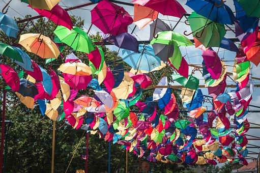 Umbrella, Sky, Summer, Holiday, Yellow, Blue, Vacations