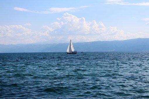 Blue, Sky, Lake, Sea, Water, Summer, Landscape, Boat