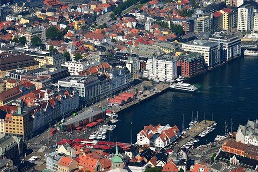 Landscape, City, Cityscape, Distant View, Norway