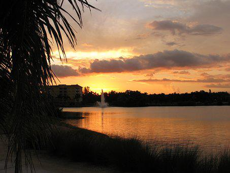 Sunset, Dusk, Nature, Water, Lake, Sky, Landscape