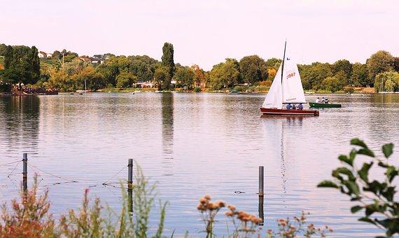 Badesee, Boat, Nature, Water, Sailing Boat, Stuttgart