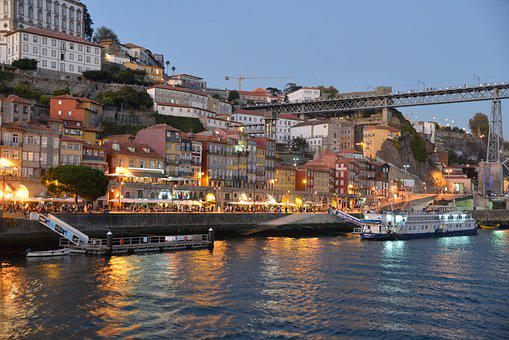 Portugal, Porto, Douro, Night, Historic Center, River