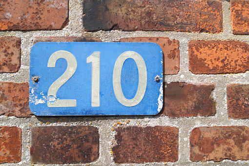 House Number, Number, Shield, 210, Wall, Facade