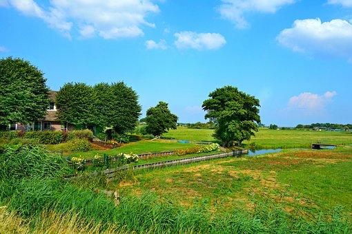 Dutch Landscape, Farmhouse, Meadows, Polder, Rural