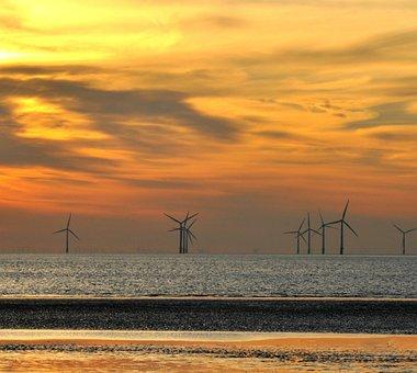 Crosby, Liverpool, Wind, Farm, Sunset, Sand, Sea