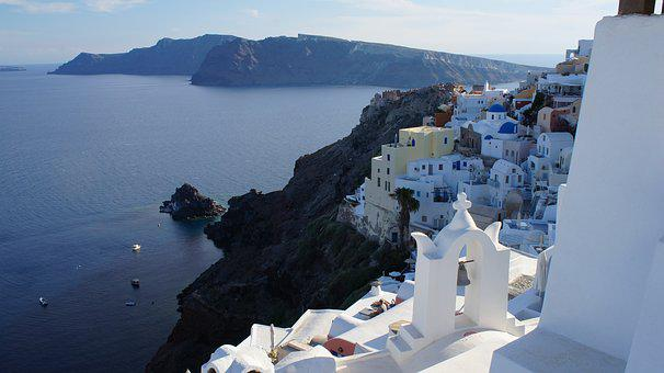 Greece, Oia, Fira, Santorini, White, Sea, Water