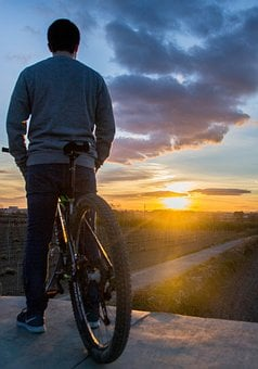 Sunset, Bike, Bicycle, Silhouette, People, Cycling, Man