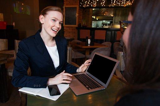 Business, Lady, Woman, Girl, Computer, Smile, Café
