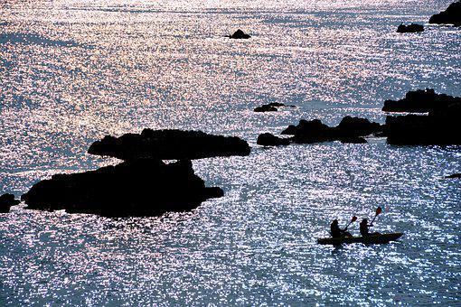 Sea, Sunset, Canoeing, Paddler, Boat, Water, Ocean, Sky