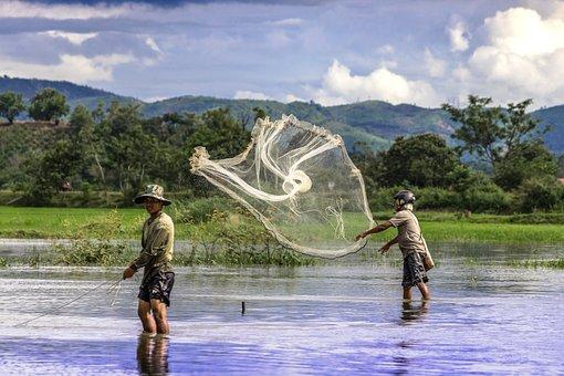 Fishermen, People, Water, Vietnam, Lifestyle