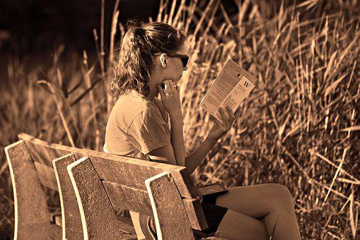 Person, Woman, Young, Girl, Sitting, Reading, Book