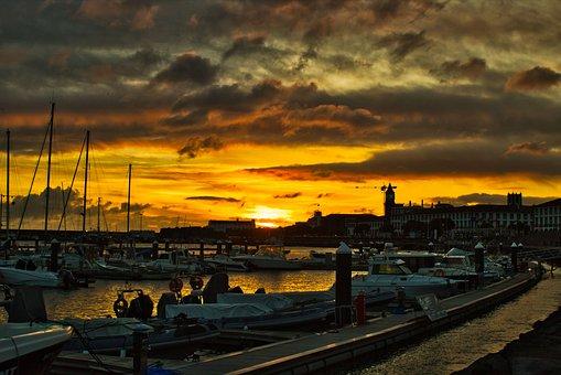 Landscape, Sunset, Twilight, Eventide, Marina, Boats