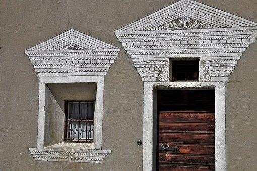 The Door, Old Windows, Closed, Facade, Frescoes