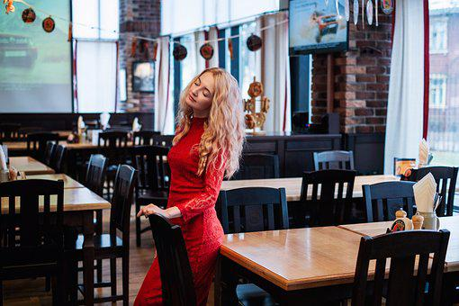 Girl, Dress, Bar, Portrait, Red Dress, Glass, Window