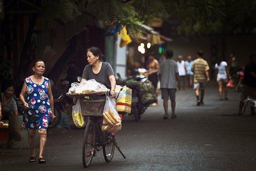 Street Food, Hanoi, Market, Women, Bicycle
