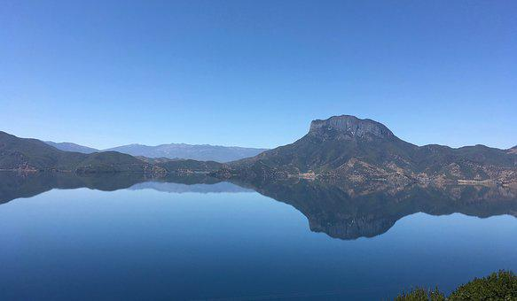 Lugu Lake, Gorm Goddess Mountain, Mountains, Lake