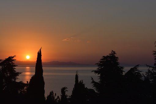 Dawn, Sunrise, Sun, Sea, Black, Sky, Landscape