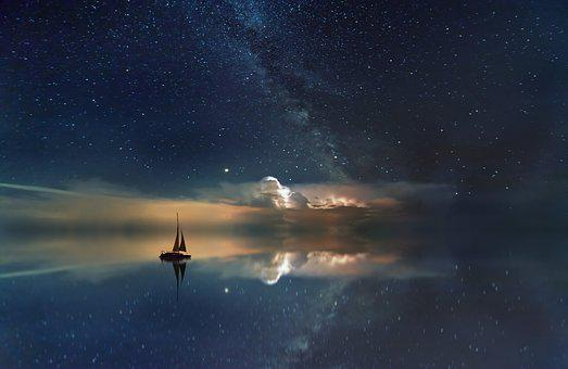 Ocean, Starry Sky, Milky Way, Rest, Sailing Boat, Boat