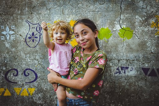 Kids, Children, Sisters, People, Girls, Portrait, Cute