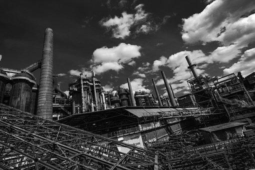 Steel Hut, Black White, Industry, Industrial Plant
