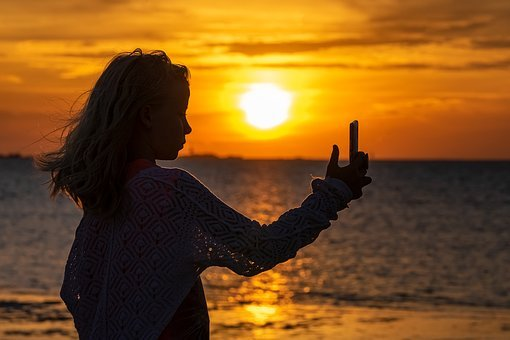 Selfie, Girl, Silhouette, Human, Person, Child, Sunset