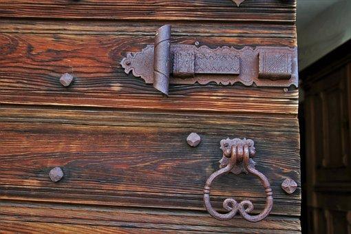 Fittings, Metal, The Door, Wooden, Entrance, Rust
