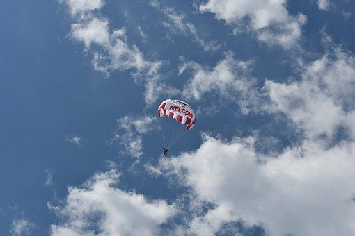 Sky, Clouds, Parachute, Tourism, Vacation, Mood