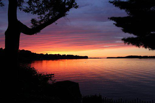 Sunset, North, Trees, Silhouette, Lake, Bay, Water