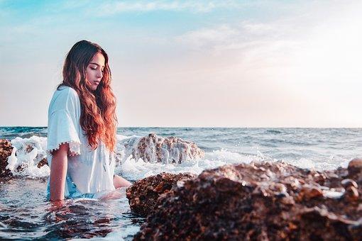 Girl, Sea, Woman, Ocean, People, Water, Female, Young