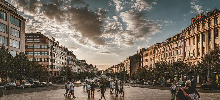 Prague, Wenceslas Square, Architecture, Facade, Capital