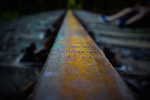 Rails, Train Tracks, Abandoned, Dark, Rust, Train