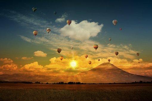 Hot Air Balloon, Balloon, Air, Fantasy, Sunset