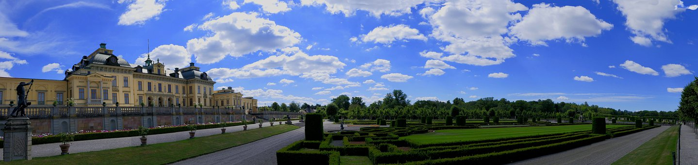 Castle, Garden, Drottningholm, Sky, Clouds, Panoramic