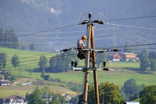 Electrician, Craftsmen, Workers, Work, Mast, Strommast