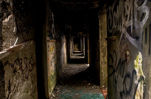 Abandoned, Destroyed, Broken, Ruined, Building, Hall