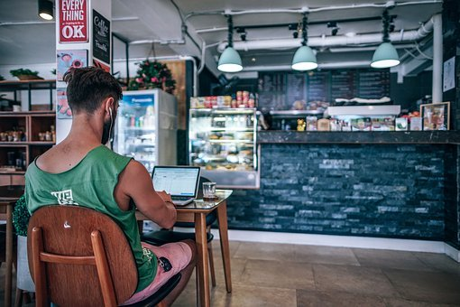 Alone, Blogger, Coffee Shop, Counter, Focused, Device
