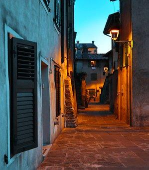Night, Street, Houses, City, Light, Evening, Lamp