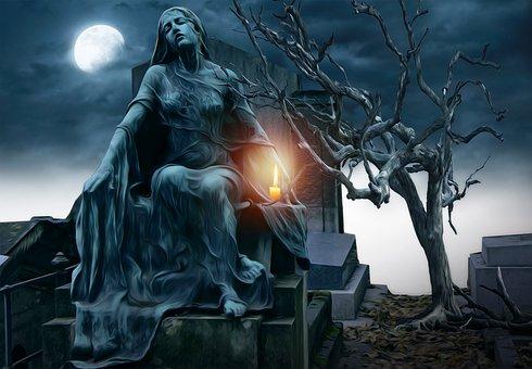 Gothic, Goth, Fantasy, Dark, Cemetary, Statue, Tree
