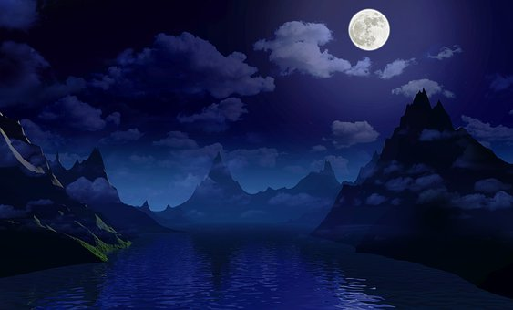 Night, Moon, Light, Sky, Dark, Landscape, Fantasy