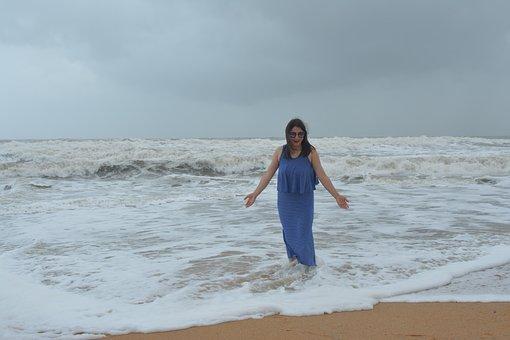 Ocean Queen, Lady In The Ocean, Beach, Female, Nature