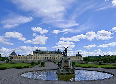 Castle, Fountain, Garden, Drottningholm, Sky, Clouds